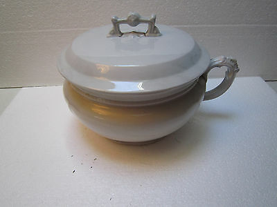 Antique Royal Ironstone Alfred Meakin England White Porcelain Covered Chamber Po