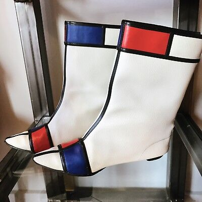 60s RARE mod Hi Brows Mondrian vinyl vegan leather go go boots 1966 size 6