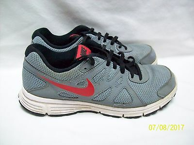 Nike Revolution 2  Shoes Running Shoes Gray with Red Trim  Size 6 Y