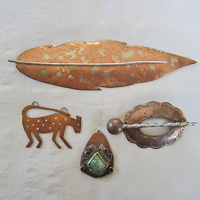 Four Vintage Copper & Silver Jewelry Items, Parts; Navajo, Zuni; Leaf Is Signed