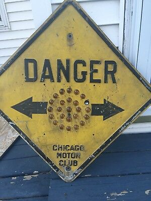 "Rare Original Chicago Motor Club Cats Eye ""Danger"" Traffic Street Sign"