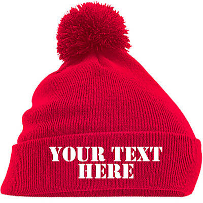 Personalised Pom Pom Beanie Bobble Hat With Name Slogan Personalised Mens Womens