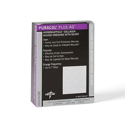 """Puracol Plus AG+ Collagen Dressings with Silver, 2"""" x 2.2"""" (One Dressing)"""