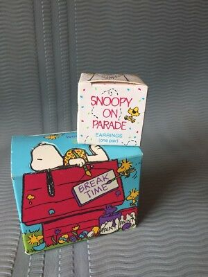 Peanuts Snoopy & Woodstock Soaps, Earrings lot, 1990 Vintage Avon Unused w/ box