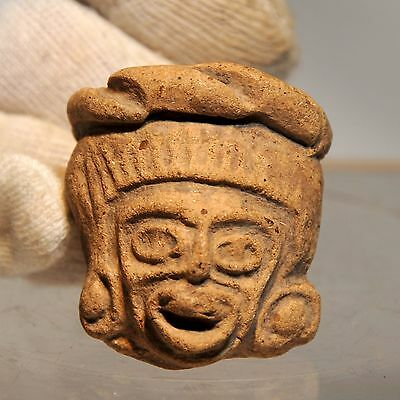Pre-Columbian Teotihuacan Figure Head with Rattle circa 200 A.D. - 600 A.D.