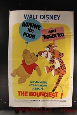 1974 WINNIE THE POOH AND TIGGER TOO! One Sheet Movie Poster Disney Vintage VG+