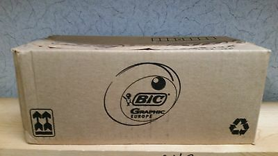 NEW LOT OF 250 BIC GRAPHIC PREMIUM BALL POINT CLIC/CLICK BLACK INK PENS Gray