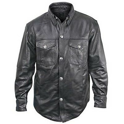 Easy Rider's brand Shirt Style Black Leather Motorcycle Jacket XXL