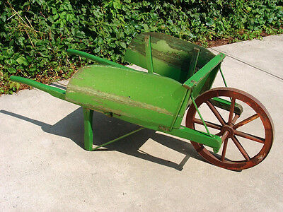 Antique Vintage Wooden Wheelbarrow Garden Cart Rare Historical