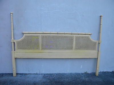 Hollywood Regency Mid-Century Painted Caned King-Size Headboard 6136