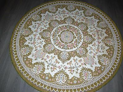 Vintage 40s 50s thick weighty woven round shabby chic floral tablecloth