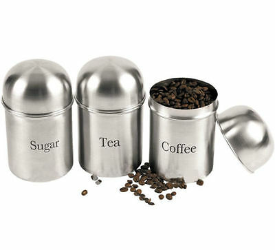3 x Stainless Steel New Tea Coffee Sugar Kitchen Storage Canisters Jars Pots Set