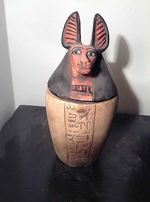 Rare Antique Ancient Egyptian Canopic jar Anubis protection stoma 1069 BC–945 BC