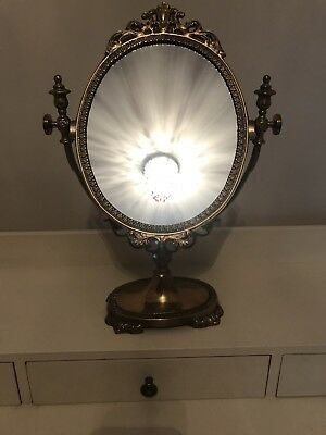 Antique Brass Ornate Dressing Table Mirror