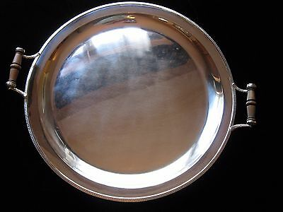 "1913 Rare English Sterling Tray James Dixon & Sons Wood Handles 19""x17"" 77 US Oz"