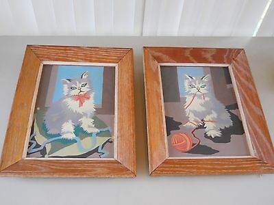"""Vintage 1952 Pann Products Paint by Number """"Kittens At Play"""", Framed"""