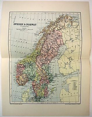 Original 1895 Map of Sweden & Norway by  W & A.K. Johnston