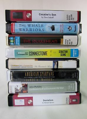 Lot of 8 Mixed Non-Fiction Audiobooks on CD - Denialism Connectome Whale Warrior