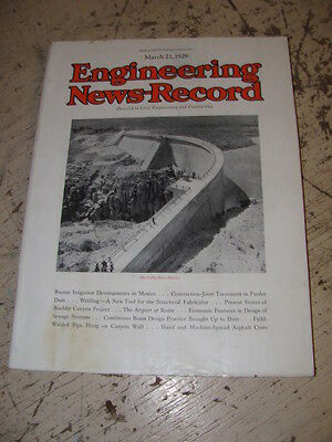 March 21 1929 Engineering News Record Construction Magazine Calles Dam Mexico