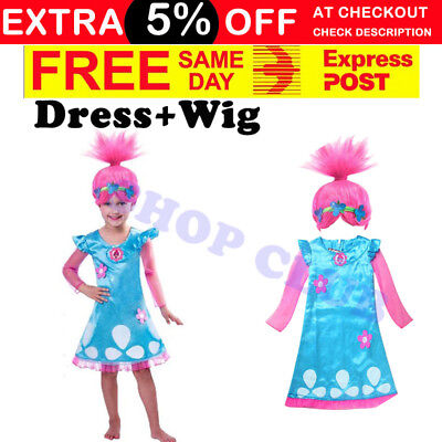 Poppy Trolls Girls Kids Birthday Dress Wig Headband Princess Costume book week
