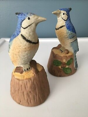 "VINTAGE BISQUE BIRD FIGURINE BELL BLUE JAY MADE BY JASCO TAIWAN, 4 3/8"" Tall"