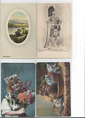 10 VINTAGE POSTCARDS with STAMPS 1900s - 1920s