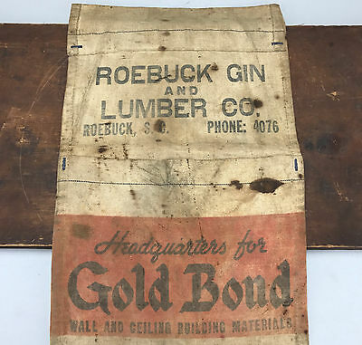 Vintage Canvas Roebuck Gin Lumber Co Gold Bond Canvas Apron Tool Belt Pouch