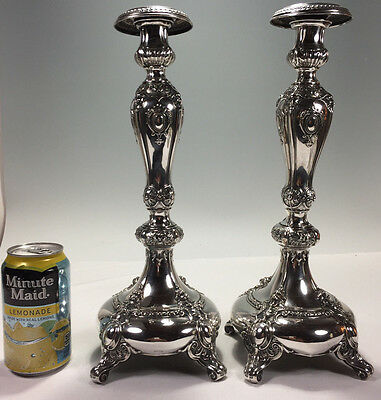 Very Ornate 800 Pure Silver Candlesticks w Satan Faces GERBURDER PETERSFELDT