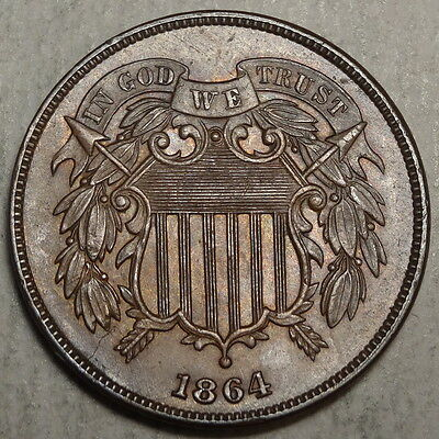 1864 Two Cent Piece, Choice Uncirculated, Original Brown Unc  1216-16