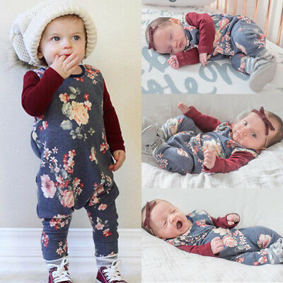 Newborn Baby Girl Floral Cotton Romper Jumpsuit Bodysuit Clothes Outfits