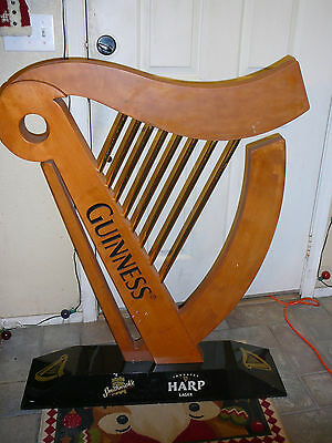 AWESOME Guinness Harp Beer LARGE Wood Promotional Store Display Sign Smithwick's