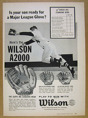 1961 Wilson A2000 Pro Model Nellie Fox & Al Kaline Baseball Gloves vintage Ad