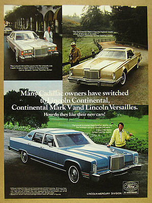 1978 Lincoln Continental Town Car Mark V & Versailles photos vintage print Ad