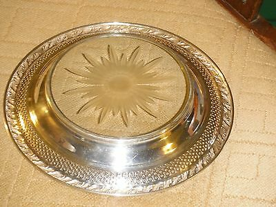 Amston Sterling Co. Sterling Silver & Cut Glass Bottle Coaster / dish / tray