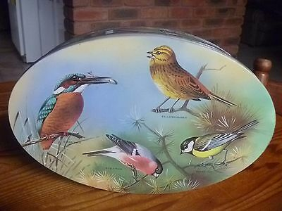 Vintage Oval Bird Biscuit? Tin-15 Different Birds All Named