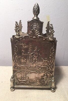 Antique Magnificent Dutch Sterling Silver Ornate Tea Caddy 1885