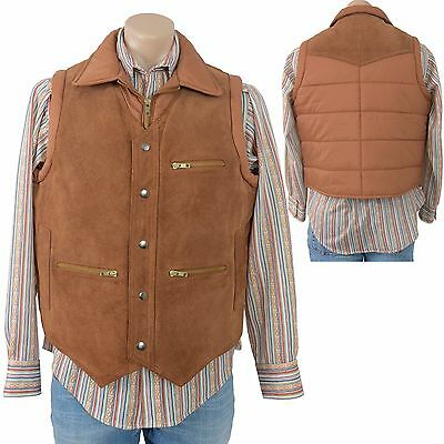 Vintage 70s Bermans Tan SUEDE LEATHER Vest Puffer Puffy Western Retro Hipster 44
