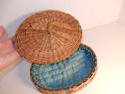 Antique Victorian Sewing Box Kit Basket Silk Lined For Needles And Spools