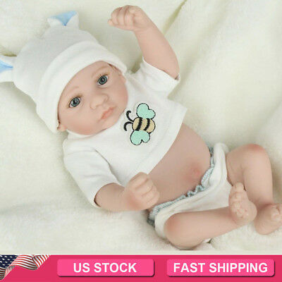 "10"" Handmade Newborn Christmas Gift Full Body Soft Vinyl Silicone Baby Boy Dolls"