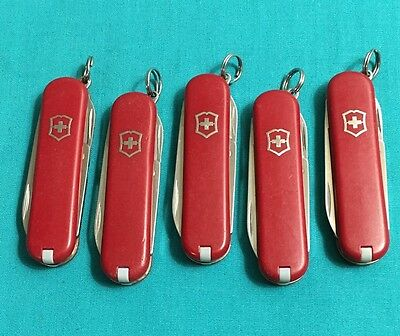 Lot of 5 Victorinox Swiss Army Knives - Classic Red - Multi Tools