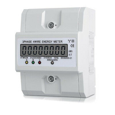 50-60Hz Three-phase Four-wire DIN-Rail Kilowatt Hour KWH Energy Meter 3x5(80A)