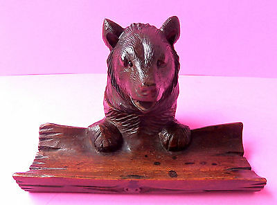 Antique Black Forest Carved Wood,bear Ink Well  Pen Rest Log At The Front.