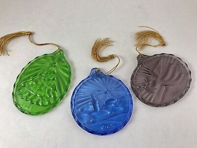 Lot of 3 1985 Avon Fostoria Glass Ornaments, Mint