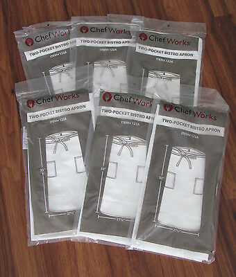 """Lot of 6 Chef Works #122A Two-Pocket Bistro Aprons Apron White 33"""" Length NEW"""
