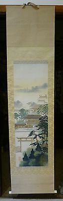 Large Vintage or Antique Japanese or Asian Scroll Buildings and Trees Signed