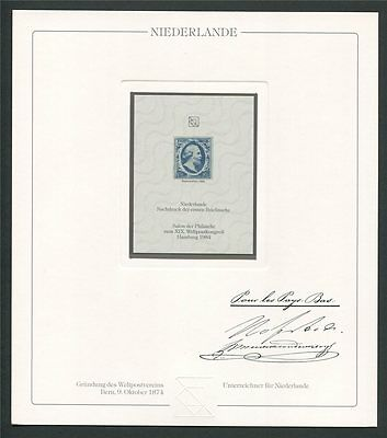 NETHERLANDS No. 1 OFFICIAL REPRINT UPU CONGRESS 1984 MEMBERS ONLY!! RARE!! z694