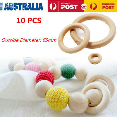 10X Crafts DIY Baby Teething Natural Wooden Rings Necklace Bracelet 65MM OZ