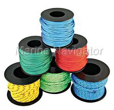 Braided Polyester Rope Mini Coils 2mm Uni-coloured X5 pcs