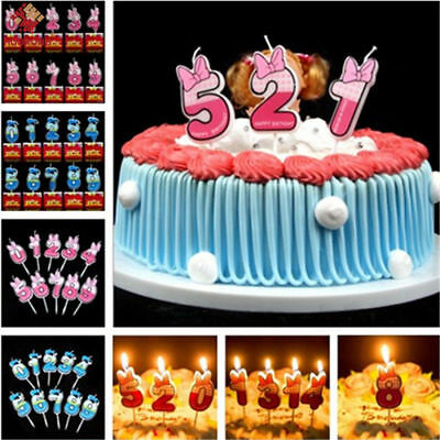 Cartoon Cake Candle Party Decoration Cake Topper Kids Happy Birthday Numbers 0-9