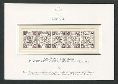 LÜBECK 1/5 OFFICIAL REPRINT UPU CONGRESS 1984 MEMBERS ONLY !! RARE !! h0987